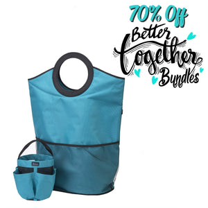 Slam Dunk Hamper - Teal + Totally Clever Tote - Teal - Make Laundry a Slam Dunk - 70% OFF