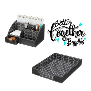 Sleek Stacking Tray + Sleek Memo Center - Modern Black - Get Organized Bundle