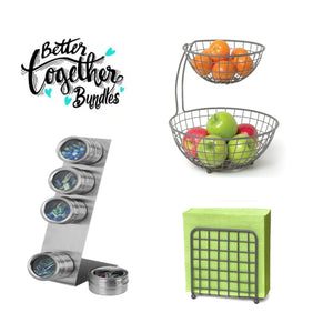 Basket Weave 2-Story & Napkin Holder + Stuck On You Magnetic Tins - Bundle