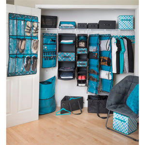 Hanging Pocket Cubby - Teal Plaid
