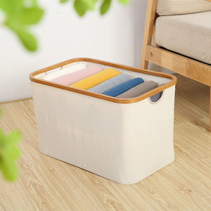 Canvas/Bamboo Storage Bin - White