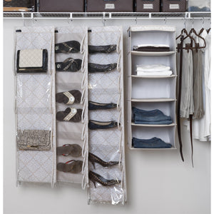 5-Shelf Organizer & Shoe Cubby (Diamond Damask) + Vertical Scarf Hanger - Bundle