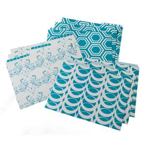 File Folders - Set of 9 - Teal/White