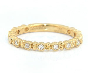 New Gabriel & Co. 0.22ctw Diamond Bezel Set Milgrain Station Band Ring in 14K