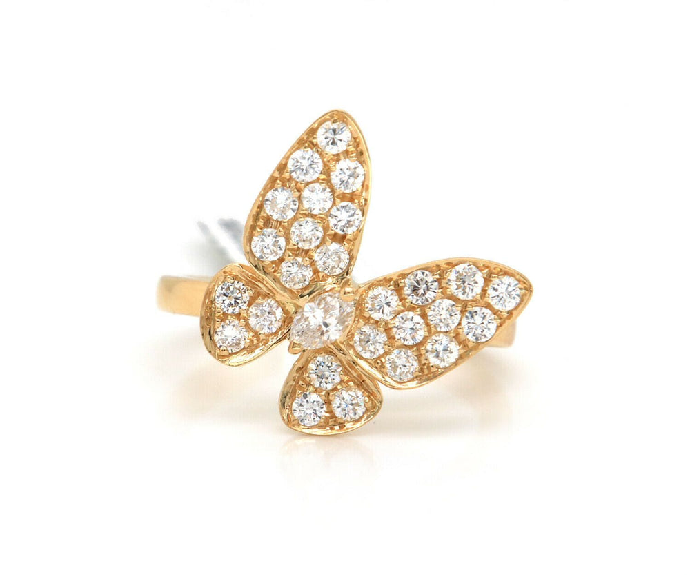 New 0.70ctw Pave Diamond Butterfly Ring in 18K