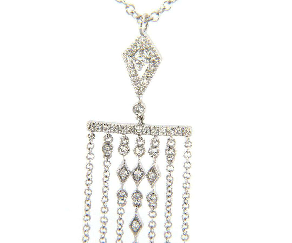New From Gabriel & Co: 0.39ctw 7 Row Fringe Dangle Pendant in 14kt White Gold