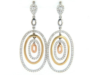 New 2.00ctw Diamond Two Tone Layered Dangle Earrings in 14K