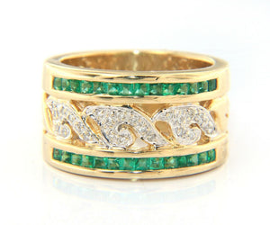 Diamond Filigree and Emerald Channel Set Wide Band Ring in 14K