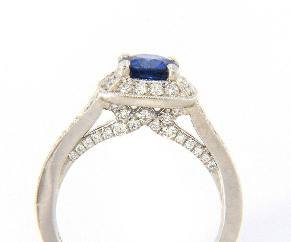 Gabriel & Co. 1.10ct Round Sapphire and 0.79ctw Diamond Vintage Engagement Ring