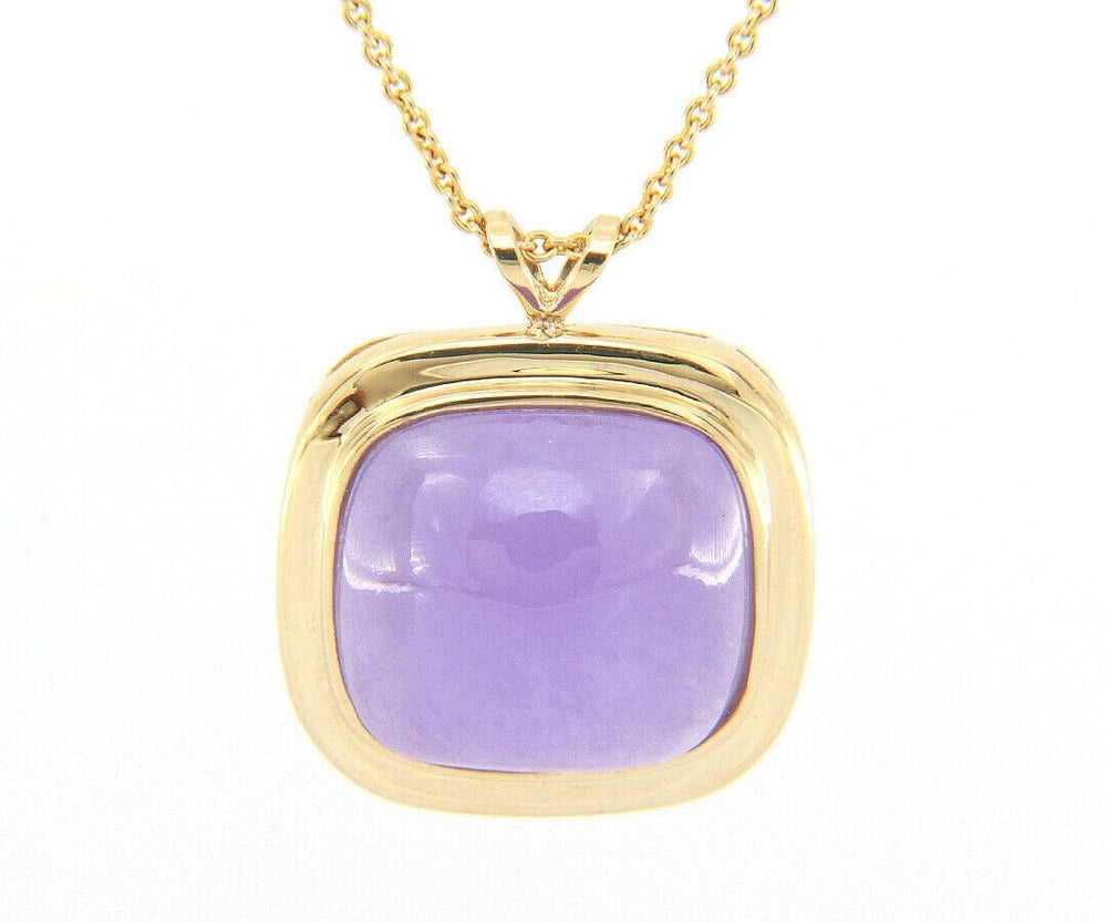 Lavender Chalcedony Cushion Pendant Necklace in 14K