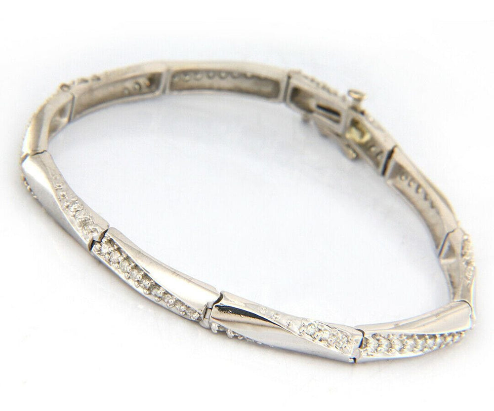 1.15ctw Diamond Twisted Line Link Bracelet in 14K