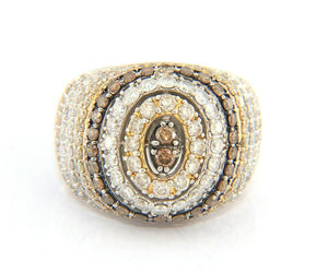 2.00ctw Chocolate Diamond and White Diamond Dome Ring in 14K