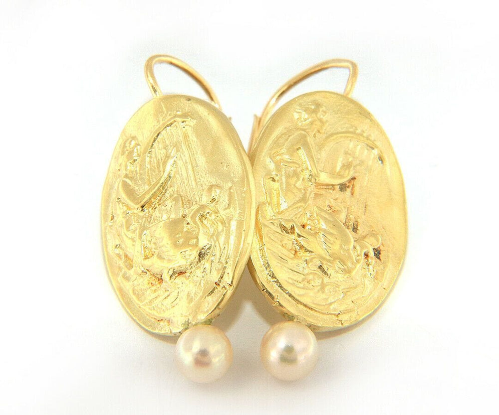 Harp and Dove Cameo Pearl Earrings in 14K