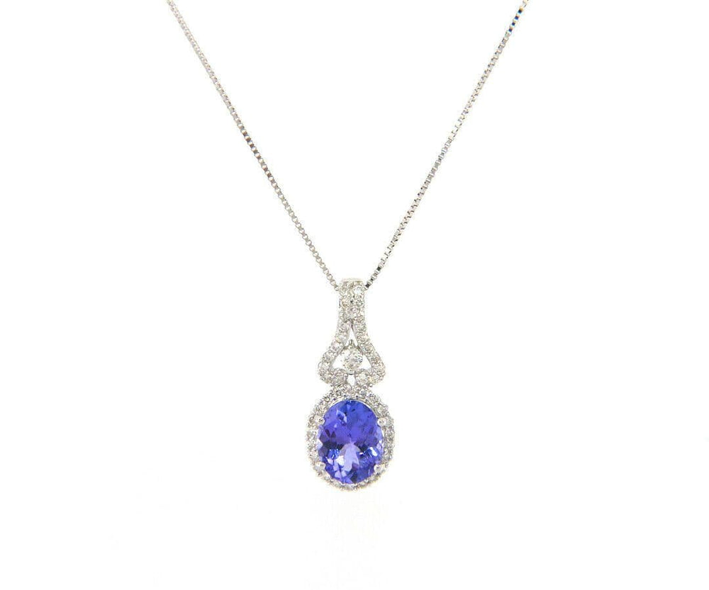 1.21ct Oval Tanzanite and 0.35ctw Diamond Accent Halo Pendant Necklace in 14K