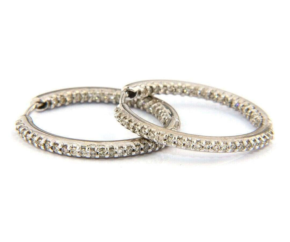 1.00 CTW In And Out Diamond Hoop Earrings In 14K