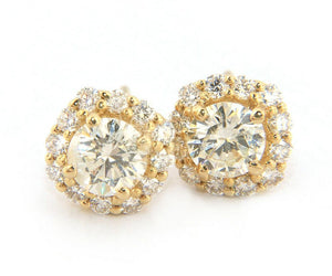 New 1.03ctw Round Diamond Cushion Frame Stud Earrings in 14kt