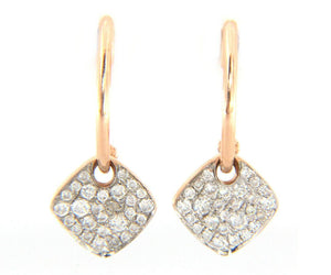 New 0.32ctw Pave Diamond Cushion Dangle Earrings in 14K