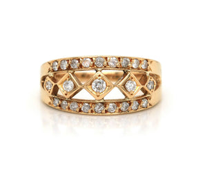 0.25ctw Diamond Open Vintage Style Ring in 18K