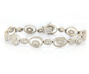 Oval Design Diamond Bracelet w/ 3.0 CTW of Diamonds in 14K