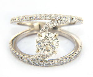 New Gabriel & Co. 1.84ctw Round Diamond Open Double Engagement Ring in 14K