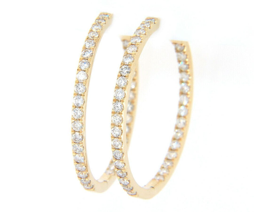 New 2.66ctw Diamond Inside Out Hoop Earrings in 14K