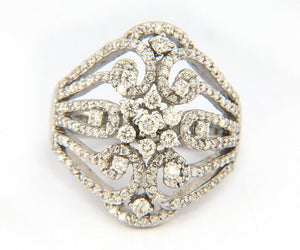 1.10ctw Effy Pave Diamond Classica Bouquet Ring in 14K