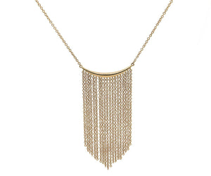 New Gabriel & Co. Curved Bar Multi Strand Fringe Necklace in 14K