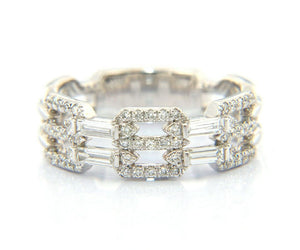 New Gabriel & Co. Baguette and Pave Diamond Link Band Ring in 14K