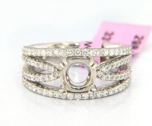 New Multi Row Shared Prong Semi Mount Ring in 14K