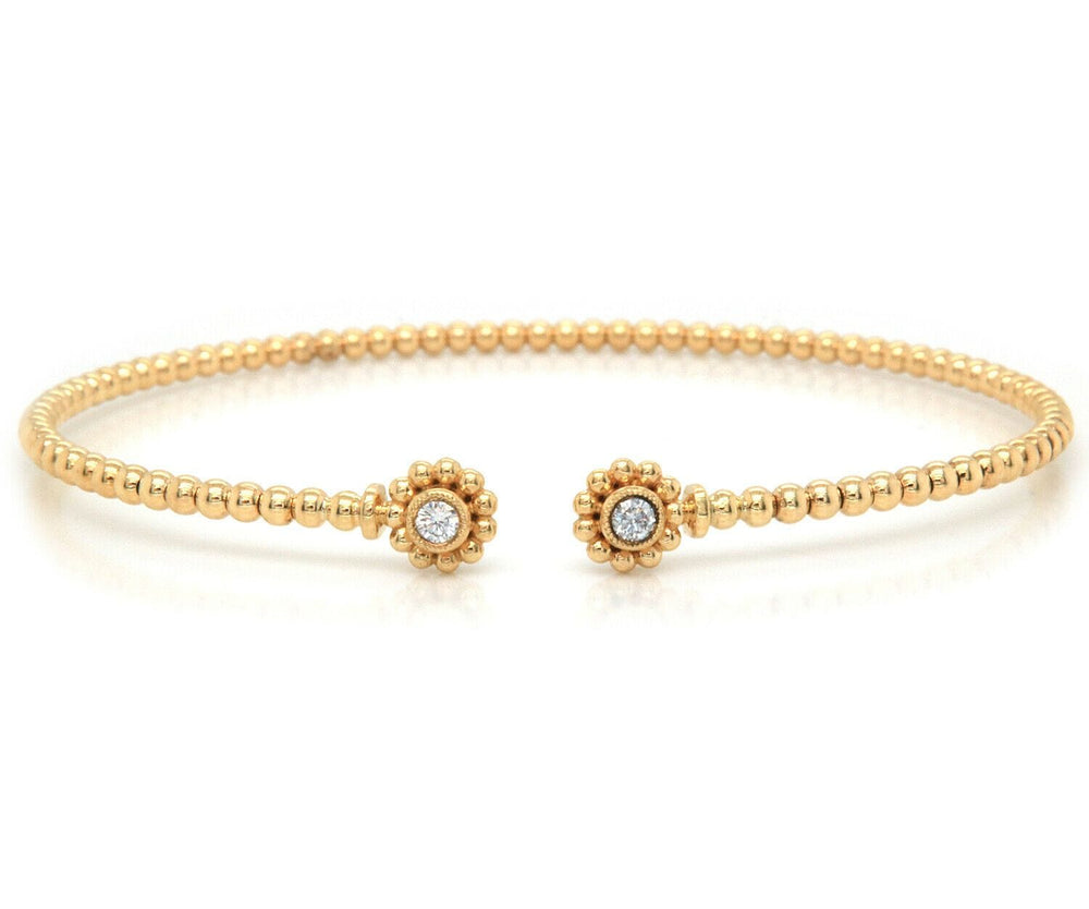 New Gabriel & Co. Bujukan Diamond Circle and Milgrain Cuff Bracelet in 14K