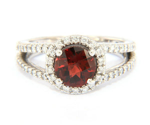 2.10ct Checkerboard Cut Garnet and 0.75ctw Diamond Halo Split Shank Ring in 14K