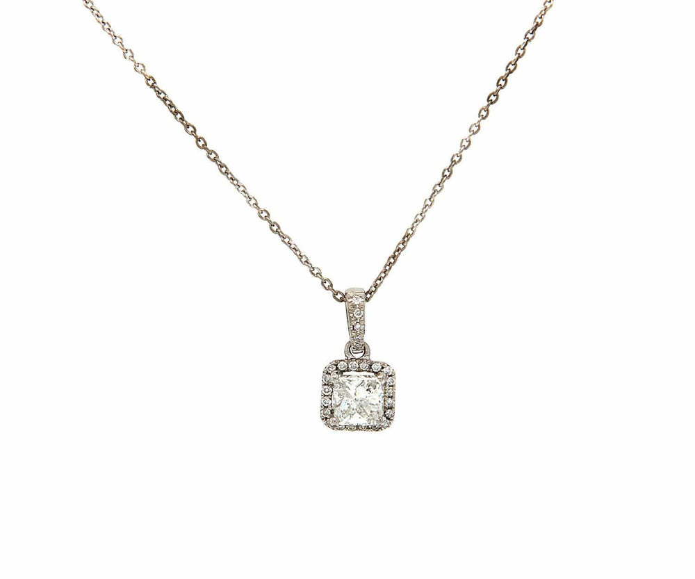 Odelia 0.63ctw Princess Diamond Frame Pendant Necklace in 18K