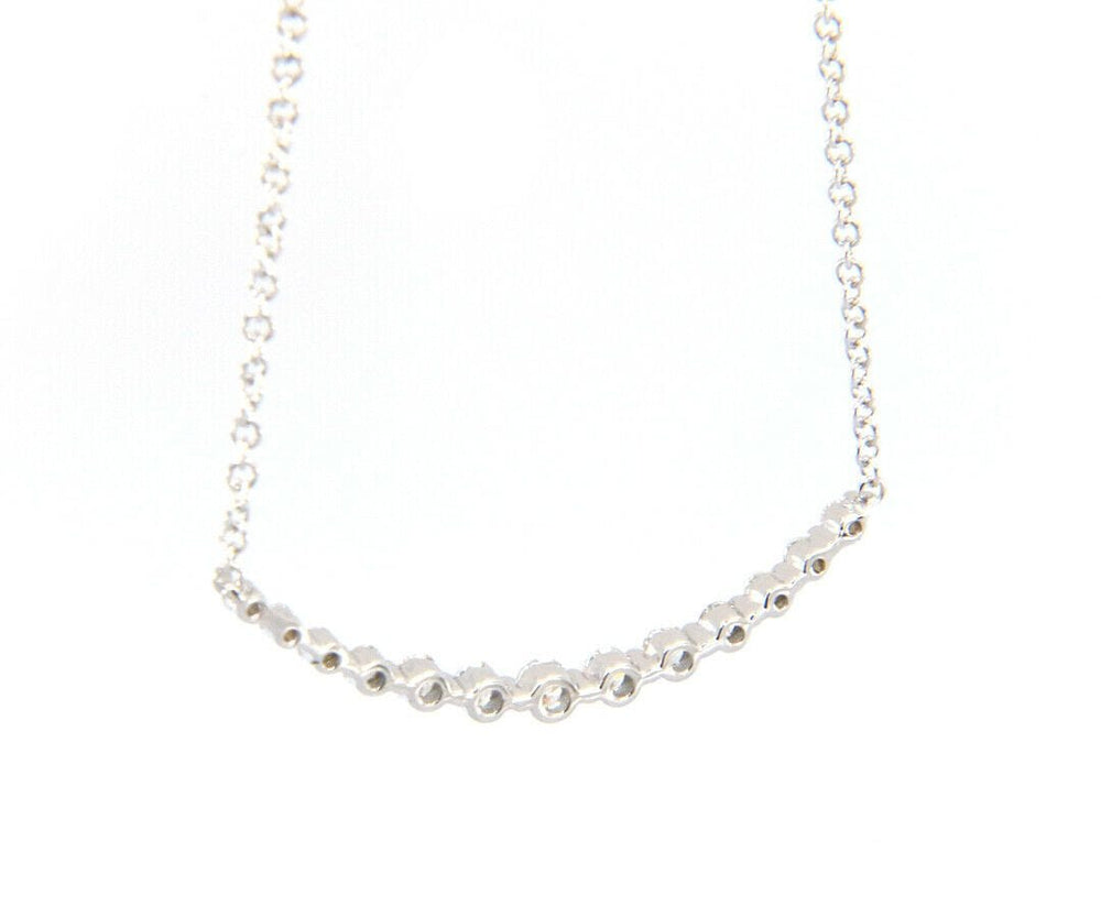 New Gabriel & Co. Diamond Curved Bar Necklace in 14K