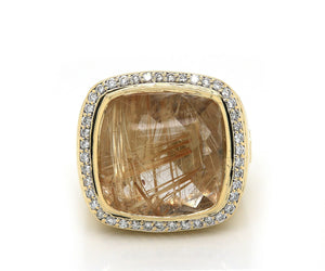 David Yurman Rutilated Quartz and Diamond Albion Ring in 18K Gold