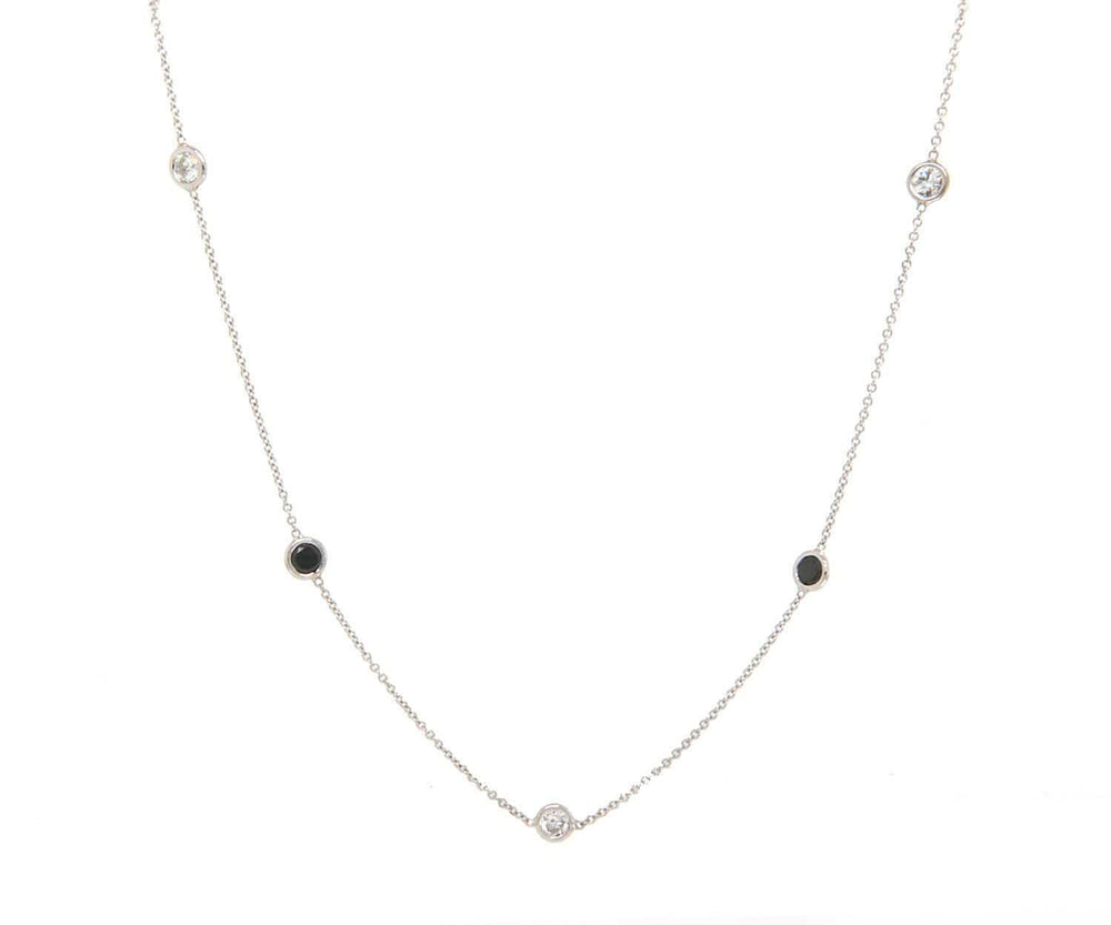 0.83ctw Black Diamond and 0.44ctw White Diamond Station Necklace in 14K