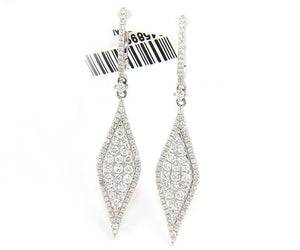 New 0.94ctw Pave Diamond Marquise Shaped Dangle Earrings in 14K