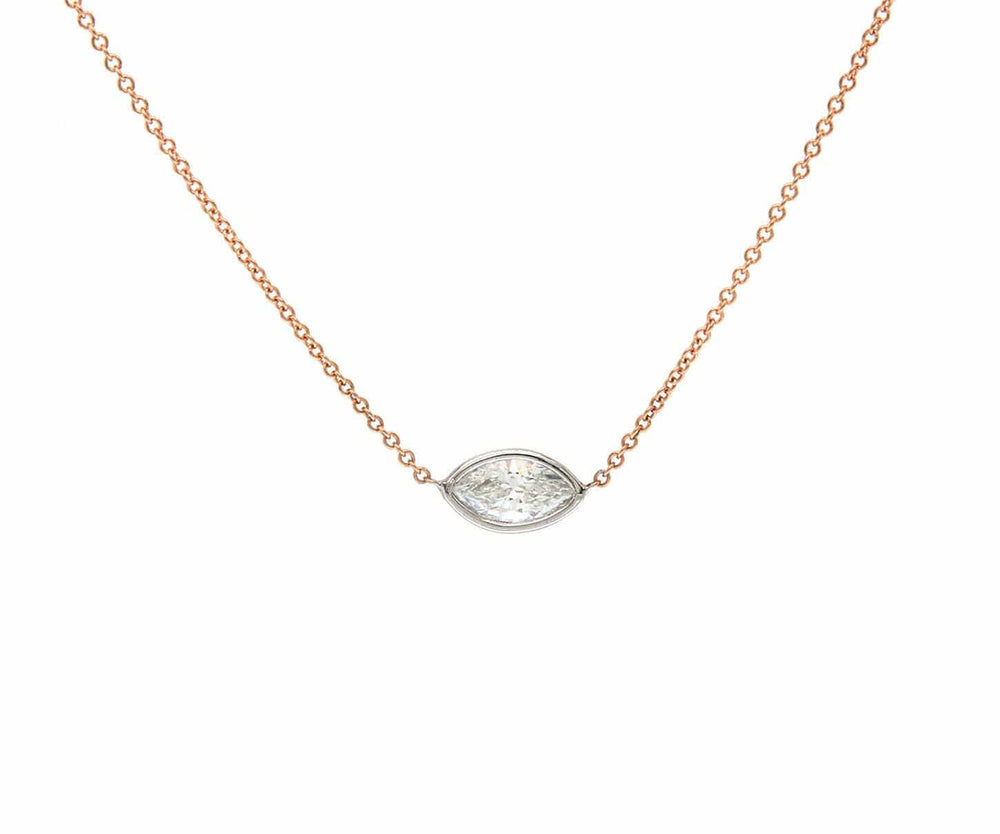 0.58ct Sideways Marquise Diamond Bezel Set Solitaire Pendant Necklace In 14K