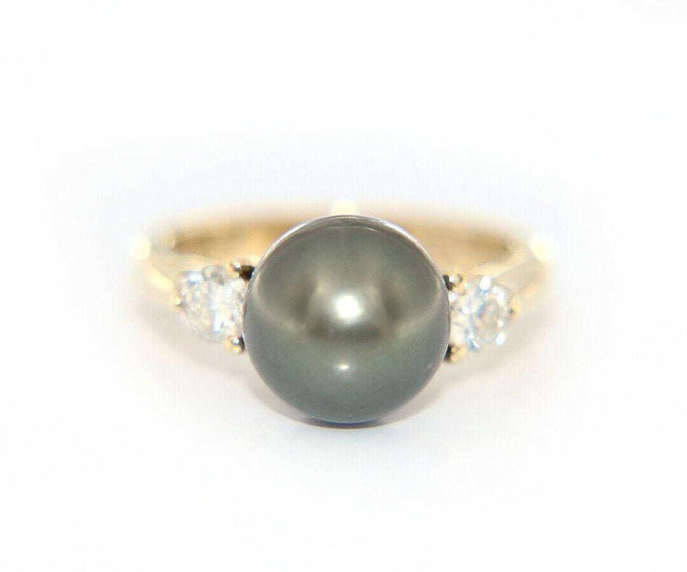 10.0MM Cultured Black Tahitian Pearl and Diamond Ring in 14K