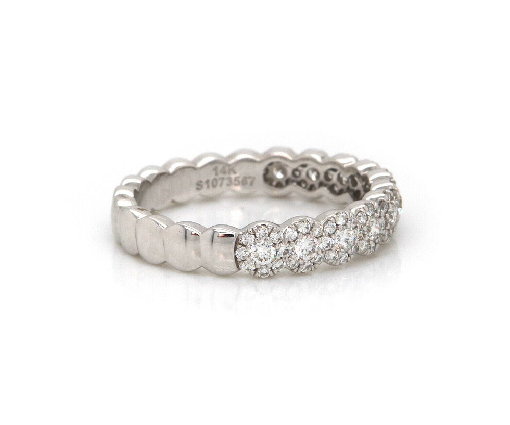 New Gabriel & Co. Straight Scalloped Diamond Anniversary Band Ring in 14K