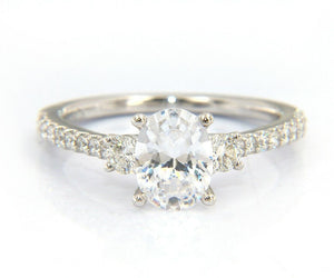 New Gabriel & Co. Diamond Three Stone Semi Mount Ring in 14K