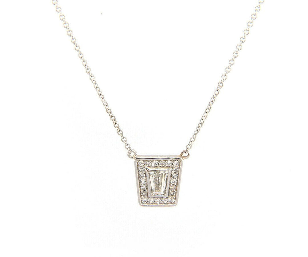 New 0.49ctw Tapered Baguette Diamond Frame Pendant Necklace in 14kt