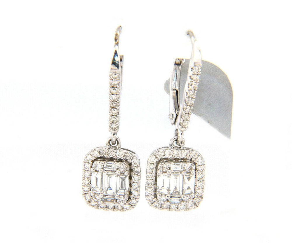 New 0.81ctw Baguette and Round Diamond Cluster Frame Dangle Earrings in 14K