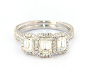 2.00ctw Emerald Cut Diamond Three Stone Frame Engagement Ring in 18K