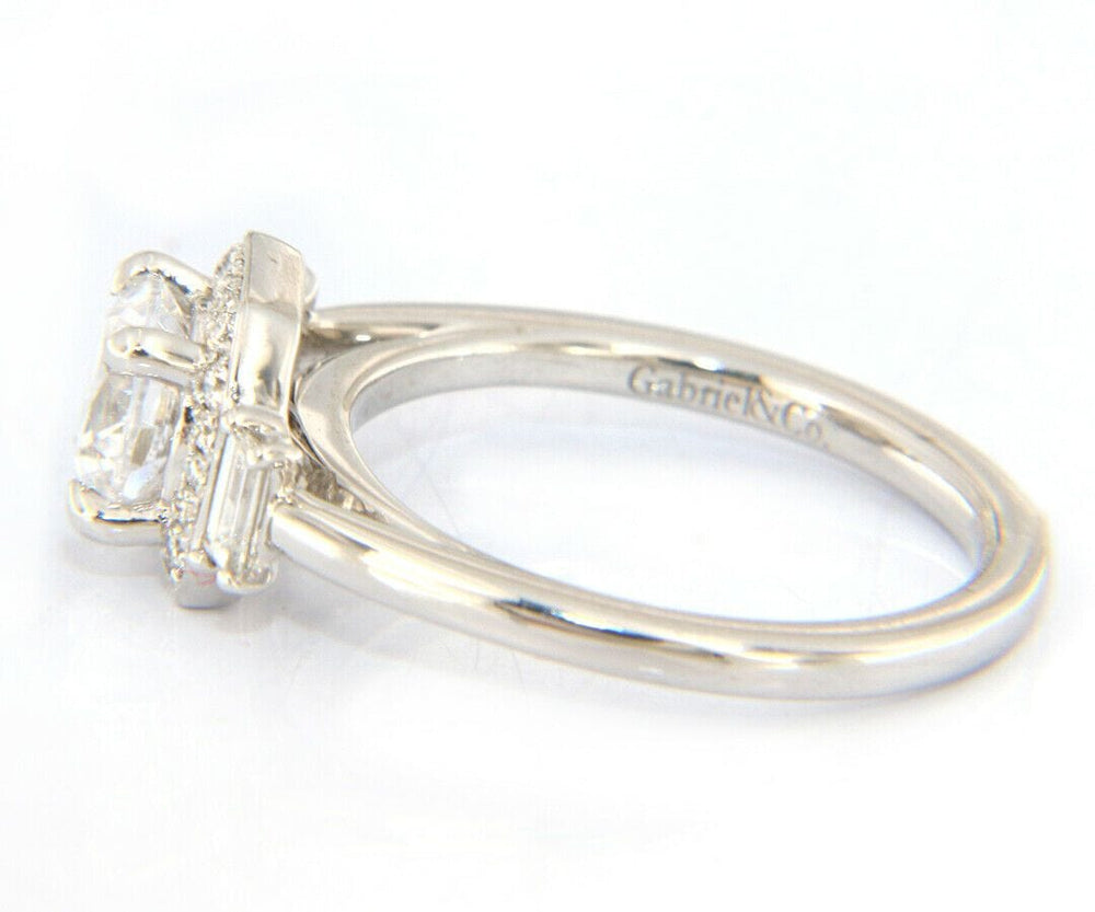 New Gabriel & Co. Art Deco Octagonal Three Stone Halo Semi Mount Ring in 14K
