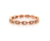 New Gabriel & Co. Diamond Twist Milgrain Band Ring in 14K