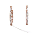 0.99 CTW In And Out Diamond Oval Hoop Earrings In 14K