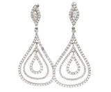 Diamond Dangle Earrings 18K White Gold 1.90 CTW Diamonds, New