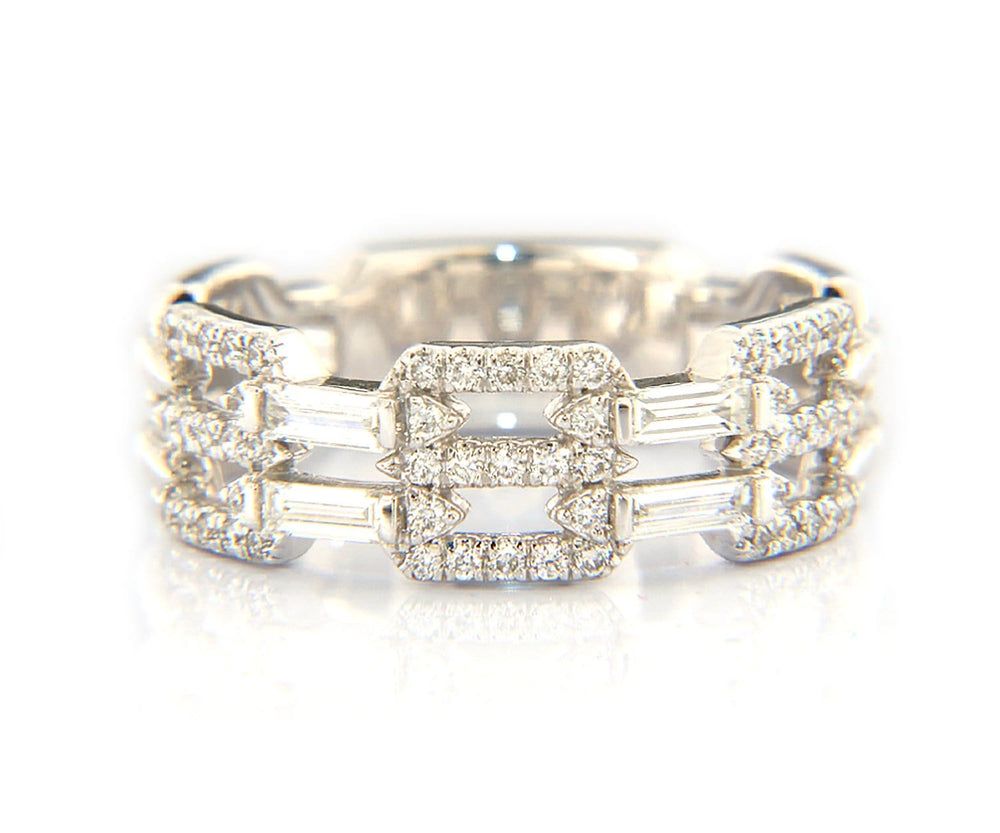 New From Gabriel & Co: 0.49ctw Baguette w/ Cushion Pave Station Band Ring 14kt