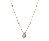 Teardrop Necklace 14K Rose Gold with Diamonds, New