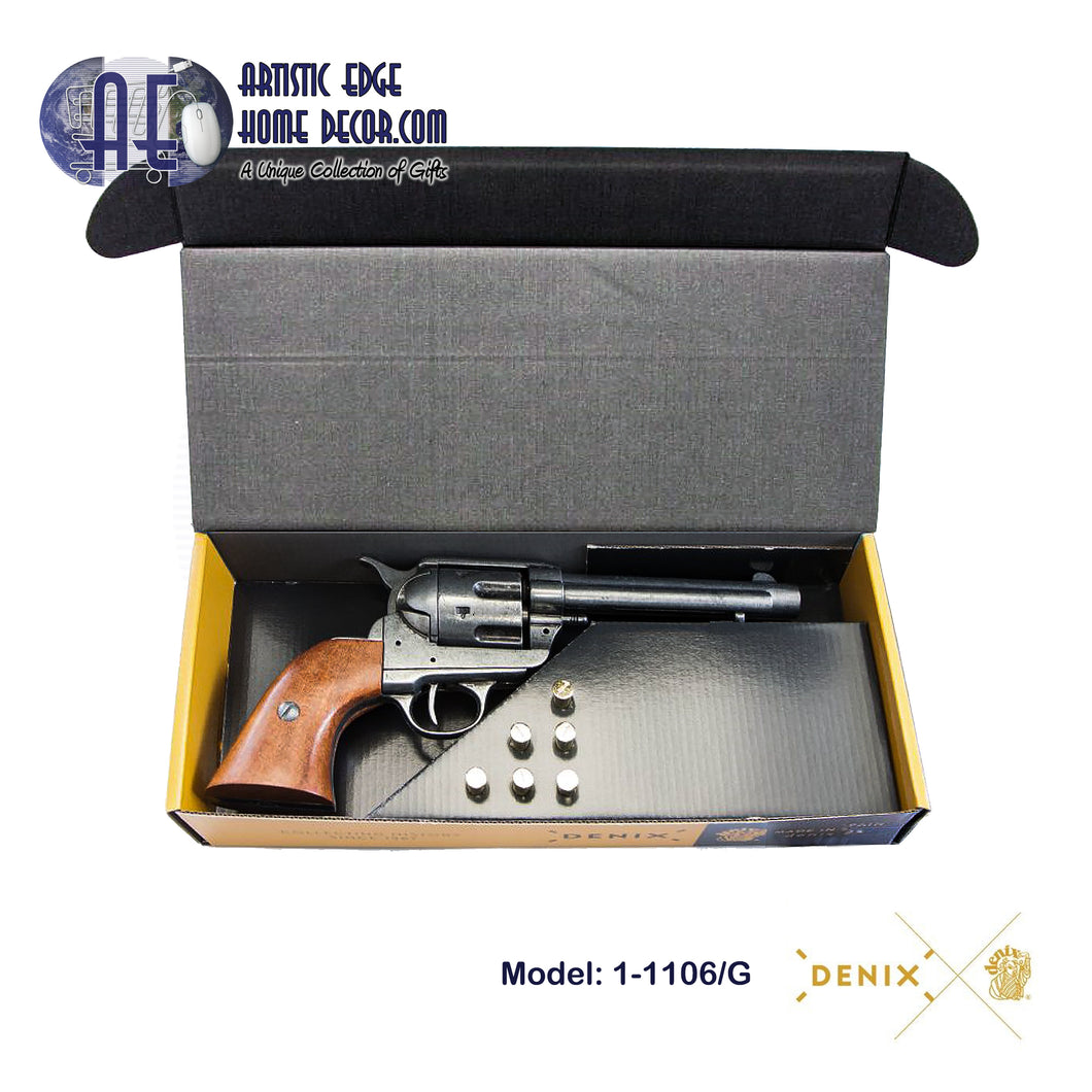 "Denix Replica .45 Cal. Peacemaker 5.5"" Single Action Army, Artillery Revolver, M1873 - Gift Box"